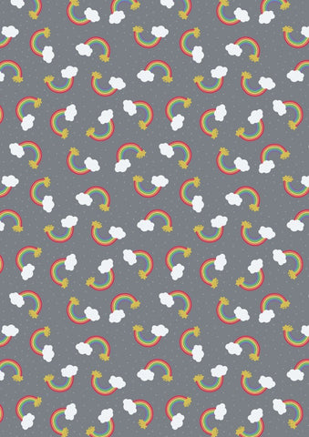 Lewis & Irene Small Things Rainbows in Grey- Gold Metallic