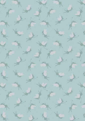 Lewis & Irene Small Things Fairies in Duck Egg- Silver Metallic
