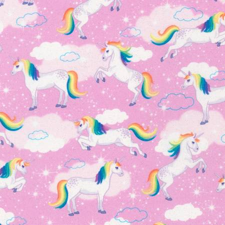 {New Arrival} Robert Kaufman Enchanted Unicorn GLITTER Pink