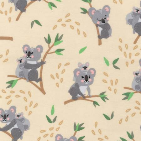 {New Arrival} Robert Kaufman Cuddly Crew FLANNEL Tan Koala