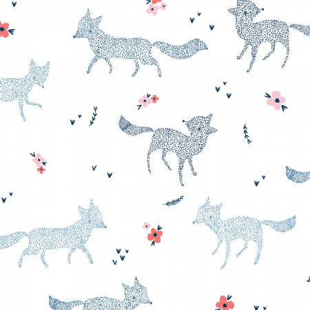 {Remnant 46cm} Dear Stella White Dotted Foxes