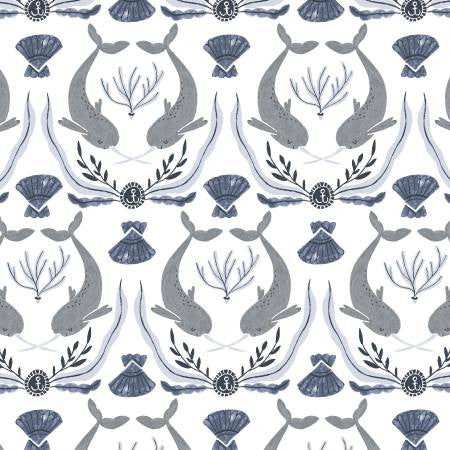 Dear Stella Into The Reef White Norwhal Damask