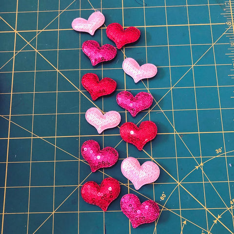 Sequin Hearts Set of 12 Group 1