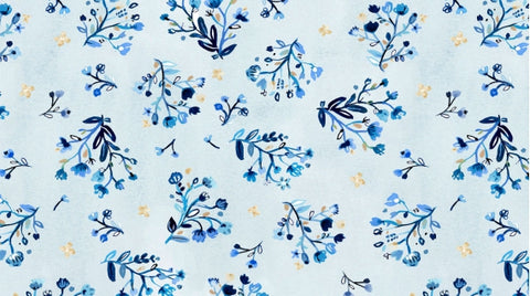 Dear Stella August Wren Collection Blue Crush Multi Blue Stem Garden