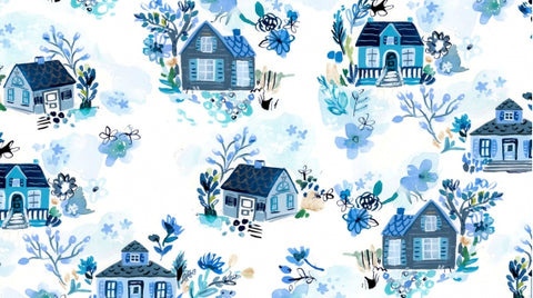Dear Stella August Wren Collection Blue Crush White Blue Cottages