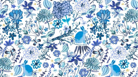 Dear Stella August Wren Collection Blue Crush White Blue Bunny Garden