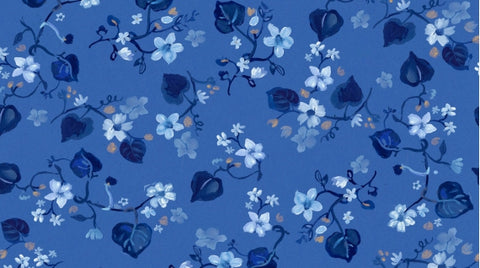 Dear Stella August Wren Collection Blue Crush Multi Blue Fall Leaves