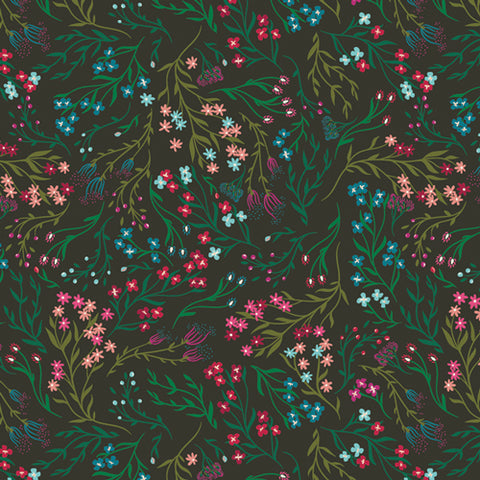 {New Arrival} Art Gallery Fabrics The Flower Society Windswept Nocturnal