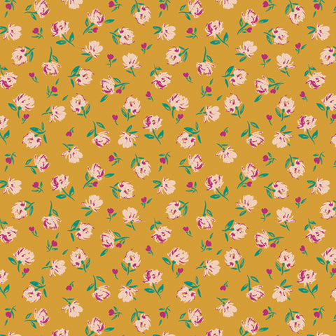 {New Arrival} Art Gallery Fabrics The Flower Society Gentle Rosebuds Solar
