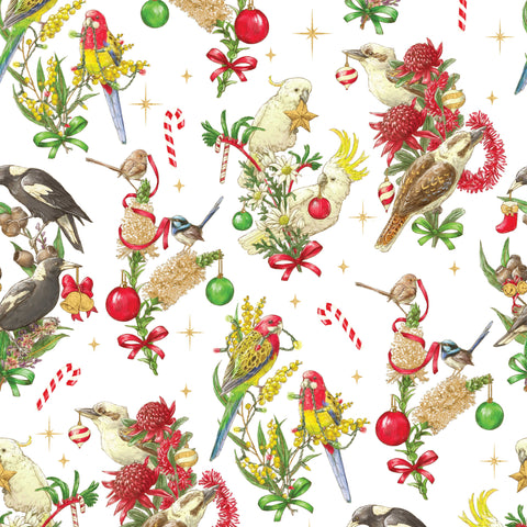 {Remnant 35cm} Devonstone Bush Birds Christmas White