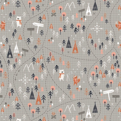{New Arrival} Dashwood Studios Under the Stars Forest Map Grey