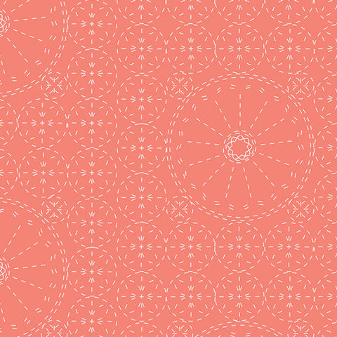 Art Gallery Wild Bloom Sashiko Florette Coral