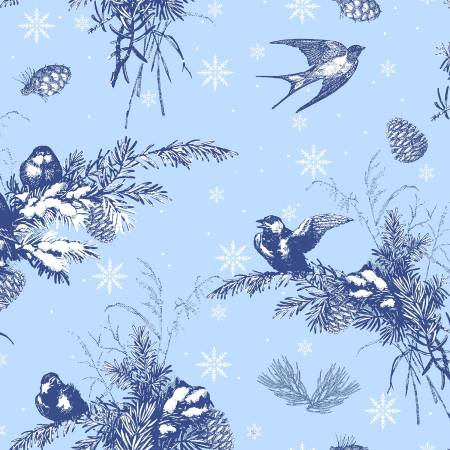 Clothworks A Winter's Tale Main Blue