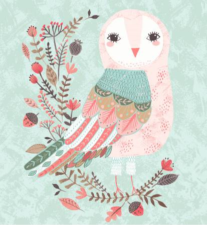 Clothworks Forest Owl Light Teal Panel