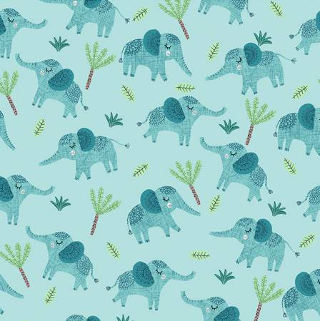 Clothworks Jungle Fever Aqua Elephants