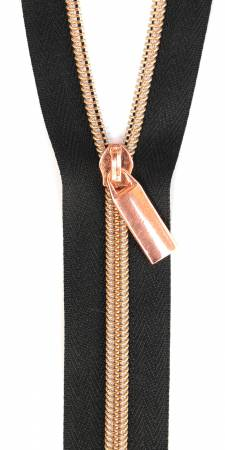 Sallie Tomato Zippers By The Yard Black Tape Rose Gold Teeth #5