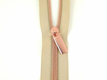 {Restocked April/May} Sallie Tomato Zippers By The Yard Beige Tape Rose Gold Teeth #5