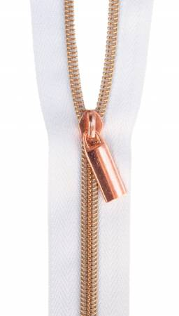 {Restocked Feb} Sallie Tomato Zippers By The Yard White Tape Rose Gold Teeth #5