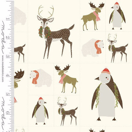 Moda Merrily Snow Critters Galore Panel
