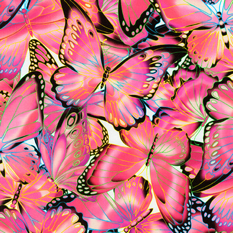 Robert Kaufman Nature Studies Pink Butterflies