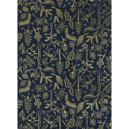 Cotton & Steel Rifle Paper Co Amalfi Black Forest Navy Metallic Gold