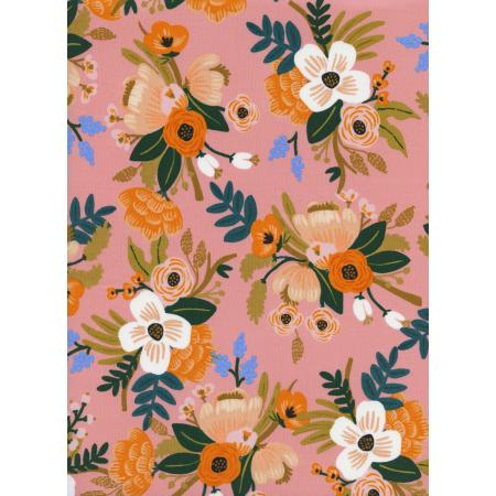 Cotton & Steel Rifle Paper Co Amalfi RAYON Lively Floral Coral