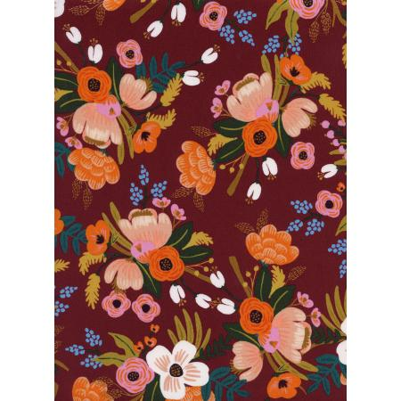 Cotton & Steel Rifle Paper Co Amalfi RAYON Lively Floral Burgundy