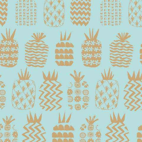 Dashwood Studios Ocean Drive Pineapples Blue Metallic Gold