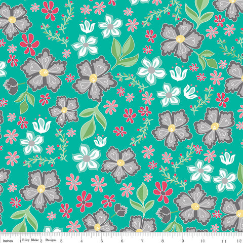 Riley Blake Flora & Fawn Main in Teal