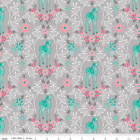 Riley Blake Flora & Fawn Deer Grey