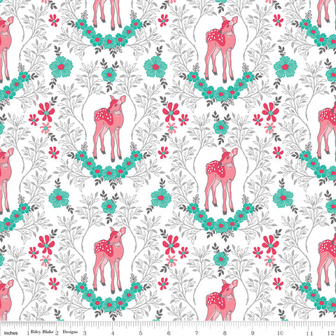 Riley Blake Flora & Fawn Deer White