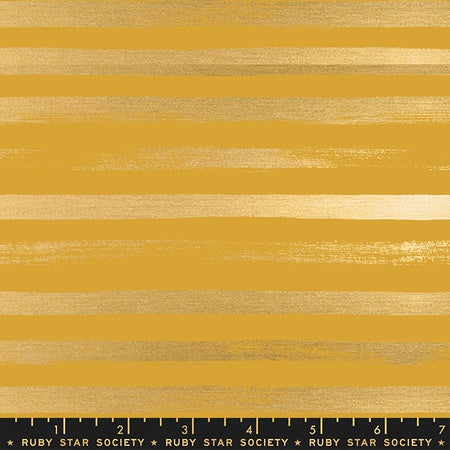 {New Arrival} Moda Ruby Star Society Stellar & Zip Basic Stripe Goldenrod Metallic