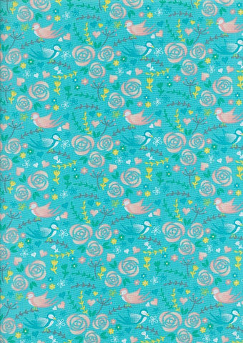 The Craft Cotton Co Love Birds Blue Floral Cotton Poplin