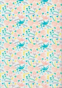 The Craft Cotton Co Love Birds White Floral Cotton Poplin