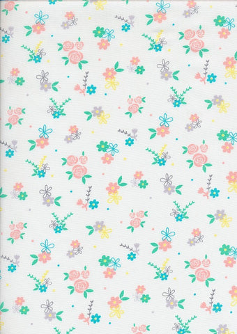 The Craft Cotton Co Love Flower Garden White Cotton Poplin
