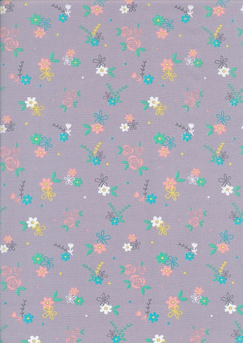 The Craft Cotton Co Love Flower Garden Lilac Cotton Poplin