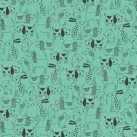 Makower A Walk in the Park Dogs Dog Outline in Teal