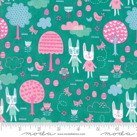 Moda Spring Bunny Fun Main in Jade