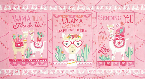 Moda Llama Love Panel Pretty Pink