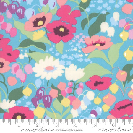 Moda Regent Street Cotton Lawns 2019 English Garden Floral Aqua
