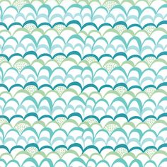 Moda Coral Queen of the Sea Ripplies White Green