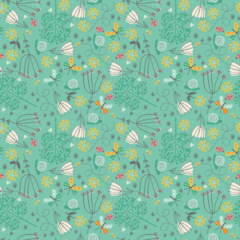 Makower A Walk in the Park Floral Turquoise