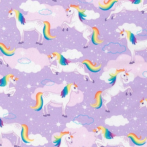{New Arrival} Robert Kaufman Enchanted Unicorn GLITTER Lavender