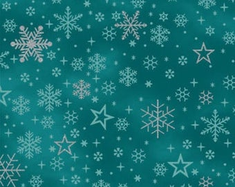 {New Arrival} Stof It's A Snowflake Turquoise Stars Metallic