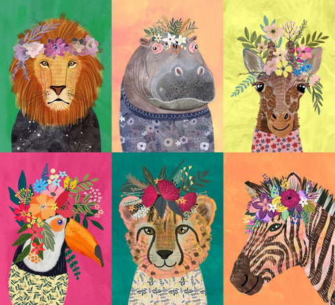 Blend Junglemania Single Block Wild Flower Multi Animals