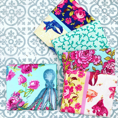 Tokyo Milk Neptune & The Mermaid Fat Quarter Bundle x 5 FQ with Aqua Octopus