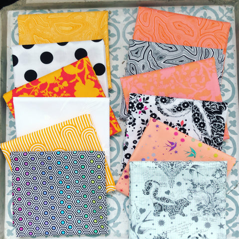 {New Arrival} Tula Pink Linework Mixed Fat Quarter Bundle x 12 Orange