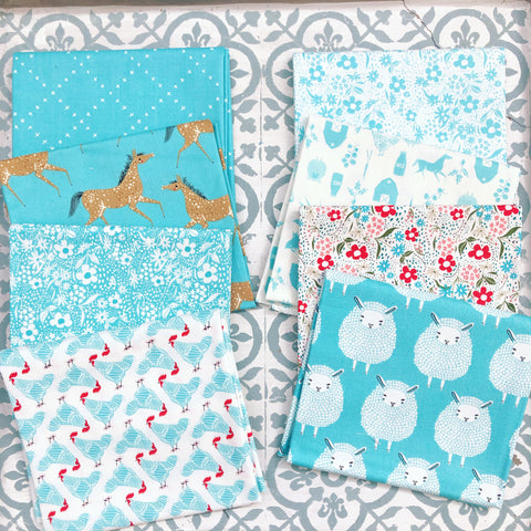 Moda Gingiber Farm Charm Aqua Fat Quarter Bundle x 8 Fat Quarters