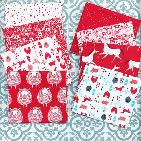 Moda Gingiber Farm Charm Red Fat Quarter Bundle x 8 Fat Quarters