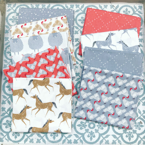 Moda Gingiber Farm Charm Grey/Red Fat Quarter Bundle x 9 Fat Quarters